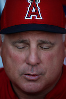 Los Angeles Angels Manager Mike Scioscia #14 before a game against the Baltimore Orioles at Angel Stadium on May 2, 2013 in Anaheim, California. Baltimore defeated Los Angeles 5-1. (Larry Goren/Four Seam Images)
