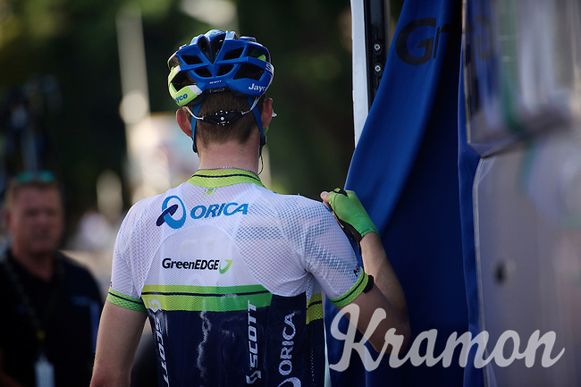 Luke Durbridge (AUS/Orica-GreenEDGE) after a HOT day on the bike<br /> <br /> 2014 Tour de France<br /> stage 12: Bourg-en-Bresse - Saint-Eti&egrave;nne (185km)