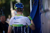 Luke Durbridge (AUS/Orica-GreenEDGE) after a HOT day on the bike<br /> <br /> 2014 Tour de France<br /> stage 12: Bourg-en-Bresse - Saint-Eti&egrave;nne (185km)