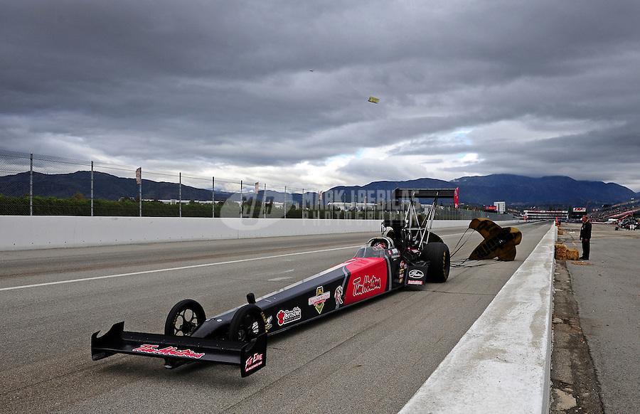 Nov. 12, 2011; Pomona, CA, USA; NHRA top fuel dragster driver Todd Paton during qualifying at the Auto Club Finals at Auto Club Raceway at Pomona. Mandatory Credit: Mark J. Rebilas-.