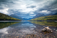 Autumn at Bowman Lake in Glacier National Park.  Bowman doesn't have any yellow aspen, but when the larch trees turn yellow it is a treat for the layered composition of bowman Lake.