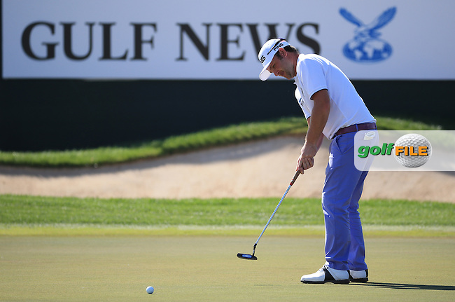 /{prsn}/ birdies the first two holes then had to sit it out until the 10th for his next, during Round Three of the 2016 Omega Dubai Desert Classic, played on the Emirates Golf Club, Dubai, United Arab Emirates.  06/02/2016. Picture: Golffile | David Lloyd<br /> <br /> All photos usage must carry mandatory copyright credit (&copy; Golffile | David Lloyd)