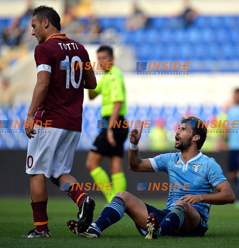 Francesco Totti Roma, Lorik Cana Lazio <br /> Roma 22-09-2013 Stadio Olimpico <br /> Football Calcio Campionato Italiano Serie A<br /> Roma - Lazio <br /> Foto Andrea Staccioli Insidefoto