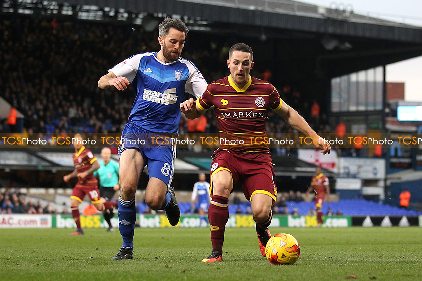 Conor Washington of QPR seeks to evade Cole Skuse of Ipswich Town during Ipswich Town vs Queens Park Rangers, Sky Bet EFL Championship Football at Portman Road on 26th November 2016