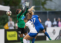 Seattle, WA - Saturday July 15, 2017: Abby Smith, Brooke Elby, Beverly Yanez during a regular season National Women's Soccer League (NWSL) match between the Seattle Reign FC and the Boston Breakers at Memorial Stadium.