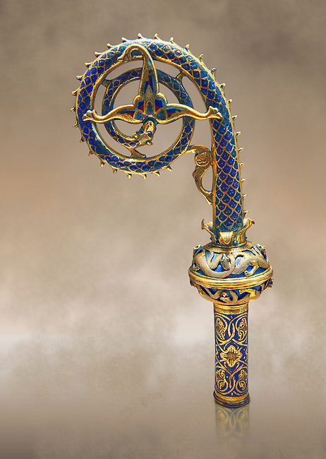 Medieval enamelled crosier with palm leaf flower, beginning of the 13th century from Limoges, enamel on gold. Nieul-sur-L'Autise. AD. Inv OA 8105, The Louvre Museum, Paris.
