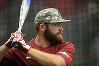 NWA Democrat-Gazette/ANDY SHUPE<br /> Arkansas first baseman Trevor Ezell takes batting practice Friday, June 7, 2019, during practice in The Fowler Family Baseball and Track Training Center ahead of today's NCAA Super Regional game at Baum-Walker Stadium in Fayetteville. Visit nwadg.com/photos to see more photographs from the practices.