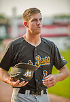 12 July 2015: West Virginia Black Bears infielder Kevin Newman, first round draft pick for the Pittsburgh Pirates organization, prepares to coach first base during a game against the Vermont Lake Monsters at Centennial Field in Burlington, Vermont. The Lake Monsters rallied to defeat the Black Bears 5-4 in NY Penn League action. Mandatory Credit: Ed Wolfstein Photo *** RAW Image File Available ****