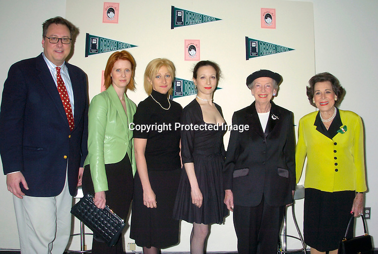 "Douglas Carter Beane, Cynthia Nixon, Edie Falco, Bebe Neuwirth, Anne Kaufman Schneider and Kitty Carlisle Hart ..at a Fundraiser for Drama Dept called "" What Fresh Hell Is This? The Actors read from the works of Dorothy Parker. ..It was on April 13, 204 at the Tribeca Rooftop in New YOrk City. People Magazine was one of the sponsors. ..Photo by Robin Platzer, Twin Images"