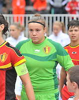 20131011 - SCHWEINFURT , GERMANY :  Belgian Justien Odeurspictured during the female soccer match between Belgium Women U17 and The Netherlands U17 , in the first game of the Elite round in group6 in the UEFA European Women's Under 17 competition 2013 in the Willy Sachs Stadium - Schweinfurt. Friday 11 October 2013. PHOTO DAVID CATRY