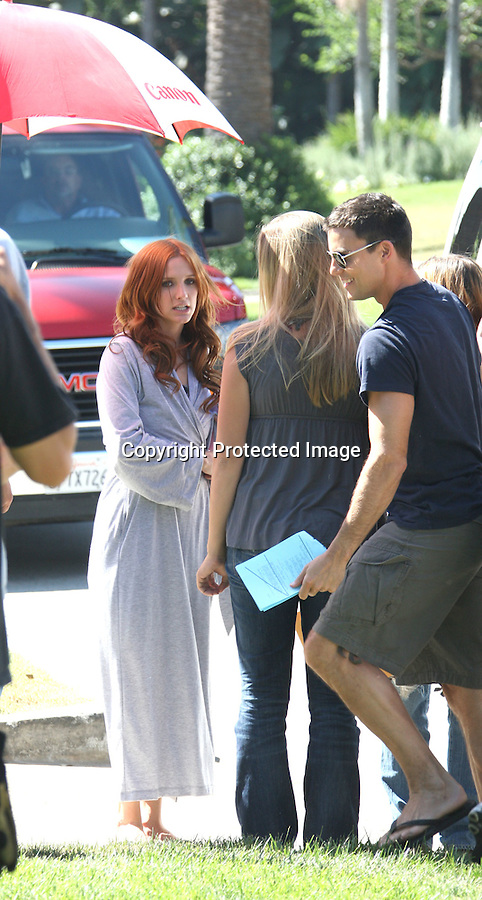 9-23-09...Ashlee Simpson Wentz filming another episode of the tv show Melrose Place in Los Angeles California. Ashlee rehearsed wearing a blue bathrobe as she walked around set. Ashlee was drinking a bottle of Organic Kombucha juice while reading her script...AbilityFilms@yahoo.com.805-427-3519.www.AbilityFilms.com