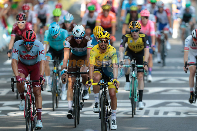Race leader Julian Alaphilippe (FRA) Deceuninck-Quick Step retains the Yellow Jersey safely as he crosses the finish line of Stage 11 of the 2019 Tour de France running 167km from Albi to Toulouse, France. 17th July 2019.<br /> Picture: Colin Flockton   Cyclefile<br /> All photos usage must carry mandatory copyright credit (© Cyclefile   Colin Flockton)