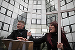 © Joel Goodman - 07973 332324 . 25/02/2017. Telford, UK. Paul Golding and Jayda Fransen at a Britain First rally in Telford . Britain First say they are highlighting concerns about child sexual exploitation in the town . Photo credit : Joel Goodman