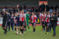 Harry Pell of Cheltenham Town waves the the crowd at full time of the Sky Bet League 2 match between Cheltenham Town and Grimsby Town at the The LCI Rail Stadium,  Cheltenham, England on 17 April 2017. Photo by PRiME Media Images / Mark Hawkins.
