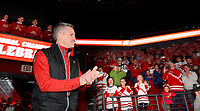 Head coach, Mark Johnson, takes the stage during the NCAA championship awards ceremony on Monday, 3/25/19, at the Kohl Center in Madison, Wisconsin