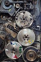 The gears of an old color printer at Colourprint in Nairobi, Kenya.
