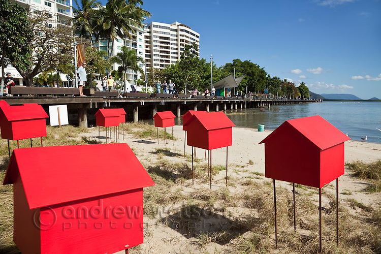Contemporary artworks on the Esplanade during the annual Cairns Festival (August-September).  Cairns, Queensland, Australia