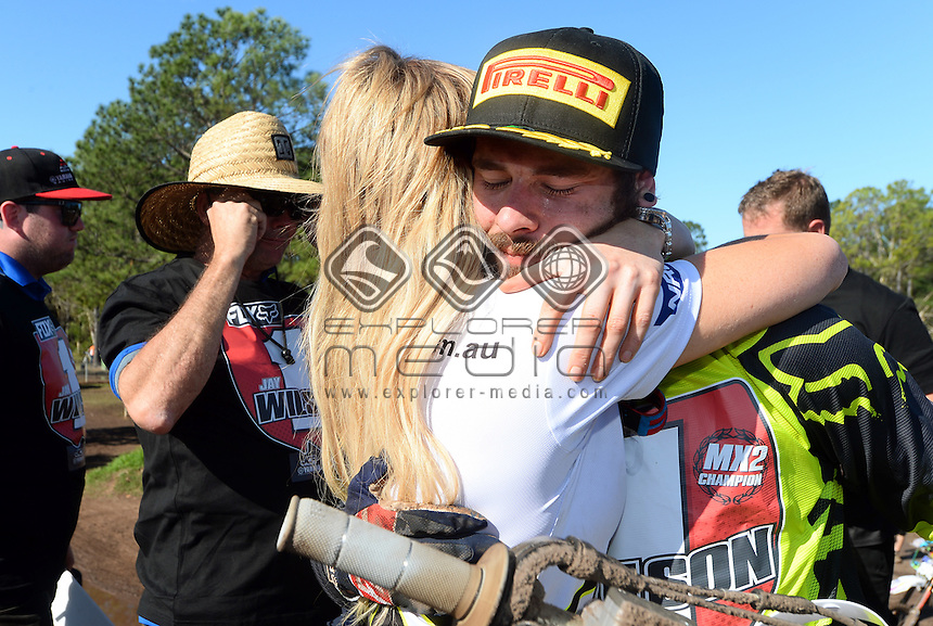 MX2 Series Champion Jay Wilson is congratulated by Misty Walton<br /> 2015 MX Nationals / Round 10 / MX2<br /> Australian Motocross Championships<br /> Coolum Qld 30 August 2015<br /> © Sport the library / Jeff Crow