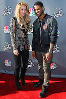 """HOLLYWOOD, LOS ANGELES, CA, USA - APRIL 03: Shakira, Usher at the NBC's """"The Voice"""" Red Carpet Event held at The Sayers Club on April 3, 2014 in Hollywood, Los Angeles, California, United States. (Photo by Xavier Collin/Celebrity Monitor)"""