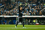 Real Madrid´s Keylor Navas celebrates a goal during 2015/16 La Liga match between Real Madrid and Espanyol at Santiago Bernabeu stadium in Madrid, Spain. January 31, 2016. (ALTERPHOTOS/Victor Blanco)
