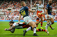 Castleford Tigers' Alex Foster scores his side's third try<br /> <br /> Photographer Alex Dodd/CameraSport<br /> <br /> Betfred Super League Round 15 - Magic Weekend - Castleford Tigers v Leeds Rhinos - Saturday 19th May 2018 - St James' Park - Newcastle<br /> <br /> World Copyright &copy; 2018 CameraSport. All rights reserved. 43 Linden Ave. Countesthorpe. Leicester. England. LE8 5PG - Tel: +44 (0) 116 277 4147 - admin@camerasport.com - www.camerasport.com