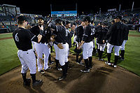 The Kannapolis Intimidators celebrate on the mound after their playoff win over the Greensboro Grasshoppers at Kannapolis Intimidators Stadium on September 8, 2017 in Kannapolis, North Carolina.  The Intimidators defeated the Grasshoppers to sweep the South Atlantic League Northern Division playoffs in two games.  (Brian Westerholt/Four Seam Images)