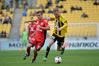Shaun Timmins and Cameron Watson during the A League - Wellington Phoenix v Adelaide United, Wellington, New Zealand on Sunday 30 March 2014. <br /> Photo by Masanori Udagawa. <br /> www.photowellington.photoshelter.com.