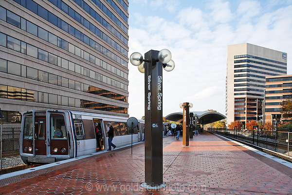 Metro train platform in Downtown  Silver Spring MD