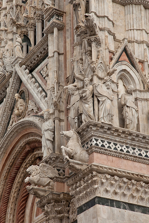 Detailed Facade of Duomo in the hilltown of Siena,central Italy
