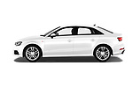 Car Driver side profile view of a 2017 Audi A3 S-Line 4 Door Sedan Side View