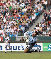 Chivas USA rookie goalkeeper Lance Parker (21) clears a ball out of the box during a SuperLiga game. Pachuca CF defeated the Chivas USA 2-1 during the 1st round of the 2008 SuperLiga at Home Depot Center stadium, in Carson, California on Sunday, July 13, 2008.