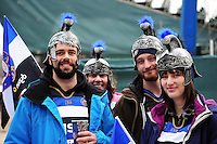 Bath Rugby supporters enjoy the pre-match atmosphere. Aviva Premiership match, between Bath Rugby and Saracens on April 1, 2016 at the Recreation Ground in Bath, England. Photo by: Patrick Khachfe / Onside Images