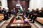 Palestinian President Mahmoud Abbas meets with Russian President's envoy to the Middle East at his office, in the West Bank city of Ramallah, on July 13, 2017. Photo by Osama Falah
