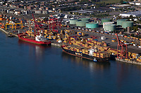 aerial photograph of containerships at the Port of Montreal, Quebec, Canada