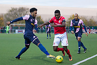 Andrea Mayasi of Harlow Town gets beyond the challenge of Nathan Ferguson of Dulwich Hamlet during Harlow Town vs Dulwich Hamlet, Buildbase FA Trophy Football at The Harlow Arena on 11th November 2017