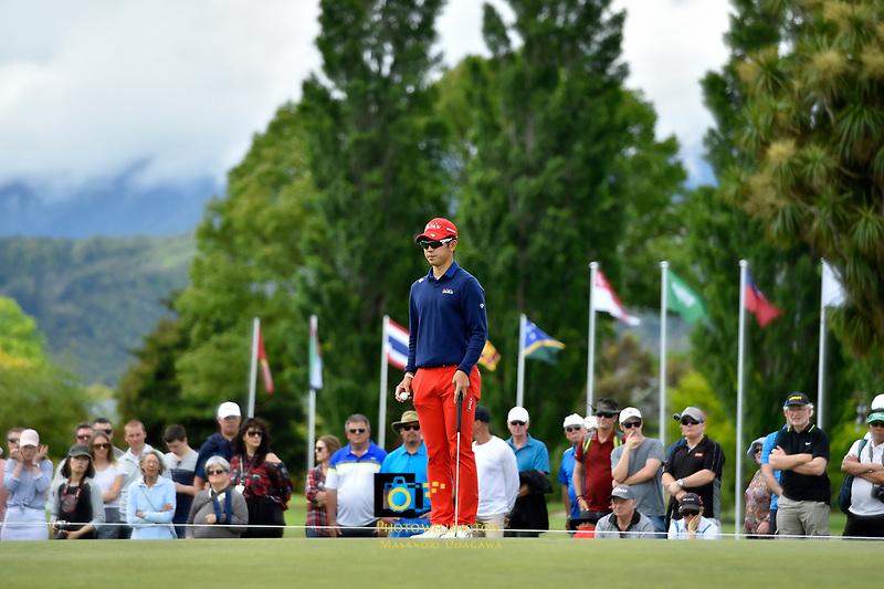 Keita Nakajima (中島啓太)Japan in action during the Asia- Pacific Amateur Championship at Royal Wellington Golf Club, Wellington, New Zealand on Sunday 29 October.<br /> Photo by Masanori Udagawa. <br /> www.photowellington.photoshelter.com