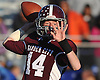 Colin Hart #14, Garden City quarterback, throws a pass during the Nassau County varsity football Conference II semifinals against Long Beach at Hofstra University on Saturday, Nov. 12, 2016. Garden City won by a score of 36-8.