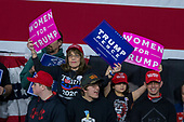 Supporters hold campaign signs during a Make American Great Rally at Atlantic Aviation in Moon Township, Pennsylvania on March 10th, 2018. Credit: Alex Edelman / CNP