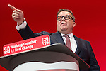 © Joel Goodman - 07973 332324 . 27/09/2016 . Liverpool , UK . TOM WATSON delivers the deputy leader's speech on the third day of the Labour Party Conference . Photo credit : Joel Goodman