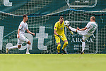 13.07.2019, Parkstadion, Zell am Ziller, AUT, FSP, Werder Bremen vs. Darmstadt 98<br /> <br /> im Bild<br /> Marco Friedl (Werder Bremen #32), <br /> Jiri Pavlenka (Werder Bremen #01), <br /> Ludwig Augustinsson (Werder Bremen #05), <br /> im zweiten Spiel von drei auf 30 Min, <br /> <br /> Foto © nordphoto / Ewert