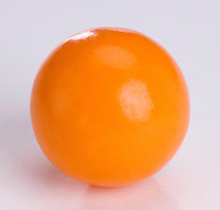Single large orange bubble gum bal