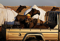 The Mohamed Khamisi family parades through the desert with their camels.  Babies ride in the truck and mother camels keep a close eye on them.