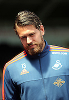 Kristoffer Nordfeldt of Swansea City arrives during the Swansea City FC v Manchester City Premier League game at the Liberty Stadium, Swansea, Wales, UK, Sunday 15 May 2016