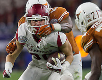 Arkansas Democrat-Gazette/BENJAMIN KRAIN --12/29/14--<br /> Arkansas receiver Drew Morgan gets near the goal line in the 2nd quarter in the Texas Bowl Monday night at NRG Stadium in Houston.