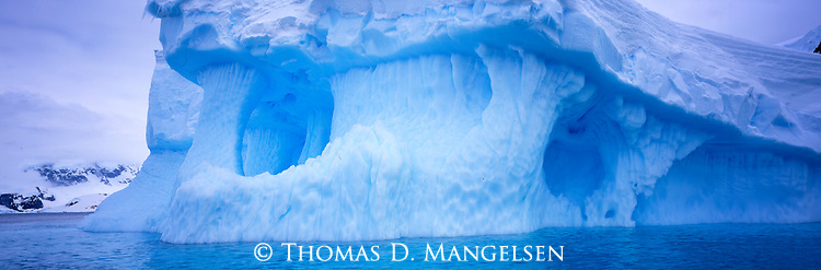 Detail of an iceberg off the coast of Cuverville Island, Antarctic Peninsula.