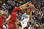 COLUMBUS, OH - MARCH 30: Morgan William #2 of the Mississippi State Bulldogs tries to shoot over Dana Evans #1 of the Louisville Cardinals during a semifinal game of the 2018 NCAA Division I Women's Basketball Final Four at Nationwide Arena in Columbus, Ohio. (Photo by Justin Tafoya/NCAA Photos via Getty Images)