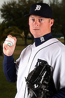 February 27, 2010:  Pitcher Jeremy Bonderman (38) of the Detroit Tigers poses for a photo during media day at Joker Marchant Stadium in Lakeland, FL.  Photo By Mike Janes/Four Seam Images
