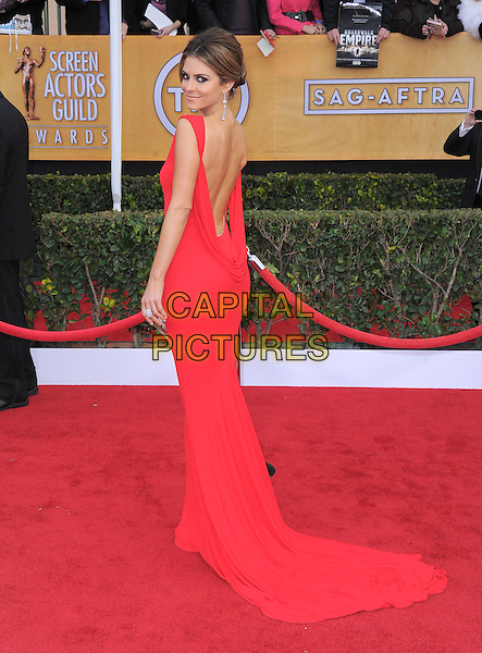 Maria Menounos.Arrivals at the 19th Annual Screen Actors Guild Awards at the Shrine Auditorium in Los Angeles, California, USA..27th January 2013.SAG SAGs full length red dress backless looking over shoulder train.CAP/DVS.©DVS/Capital Pictures.