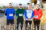 Tadgh Landers (Tralee), Robert Zalewski, Nendor Abel from Killarney and Sarah Roche (Ardfert) at the Optimal Fitness 5 and 10 k run at the Rose Hotel on Monday.