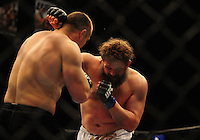 Oct. 29, 2011; Las Vegas, NV, USA; UFC fighter Roy Nelson (right) against fighter Mirko Cro Cop during a heavyweight bout during UFC 137 at the Mandalay Bay event center. Mandatory Credit: Mark J. Rebilas-